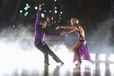 Charlie White and Peta Murgatroyd dance the Rumba on week 4 of ABC's 'Dancing With The Stars' on April 7, 2014. They received 33 out of 40 points from the judges.