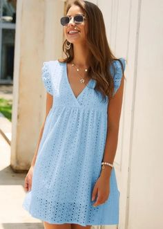 Lace Summer Dresses, Trendy Dresses, Cute Dresses, Lace Dress, Casual Dresses, Summer Outfits, Short Dresses, Fashion Dresses, Eyelet Dress