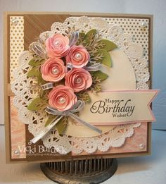 Gorgeous Handmade Birthday Card - It's a Stamp Thing: Happy Birthday Anne Marie Birthday Cards For Women, Handmade Birthday Cards, Happy Birthday Cards, Birthday Images, Birthday Quotes, Birthday Greetings, Birthday Wishes, Making Greeting Cards, Greeting Cards Handmade
