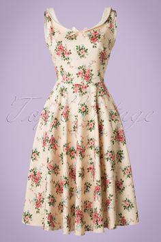 Collectif Clothing Maddison 40s Floral Swing Dress beige pastel pink flowers print jurk beige licht roze bloemen print