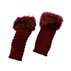 Burgundy Fur Trim Cable Knit Winter Fingerless Gloves Arm Warmers