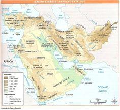 Oriente Médio físico: relevo e hidrografia (região da Mesopotâmia. Rios: Tigre e Eufrates)
