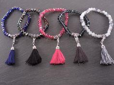 Bracelets cristaux pompon