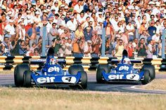 The Elf Tyrrell 005 Patrick Depailler and 006 Jody Scheckter in Buenos Aires, Argentina 1974 GP.
