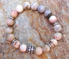 Pink Opal Gemstone Beaded Stretch Layering Stack by GlitterFusion