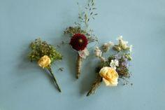 3 buttonholes British Wedding, Buttonholes, Wedding Flowers, Floral, Plants, Flowers, Plant, Flower, Planets