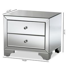 Baxton Studio Rosamaria Hollywood Regency Glamour Style Mirrored 2 Drawer Nightstand