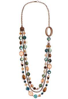 Blue Bronze Long Necklace
