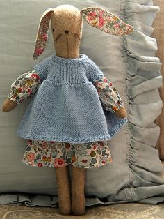Maggie bunny with knitted dress - kits available by alicia paulson!! adorable!!!