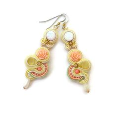 Soutache Earrings with Coral Rose and Mother by ZinaDesignJewelry, $60.00