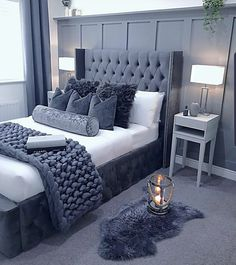 79 Awesome and Fun Teen Girl Bedroom Ideas You Want It ~ Best Dream House Glam Bedroom, Stylish Bedroom, Room Ideas Bedroom, Home Decor Bedroom, Modern Bedroom, Master Bedroom, Bedroom Designs, Bedroom Inspo Grey, Silver Bedroom
