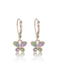 Silver Butterfly Drop Earrings Made With SWAROVSKI ELEMENTS by Chanteur Designs #zulily #zulilyfinds