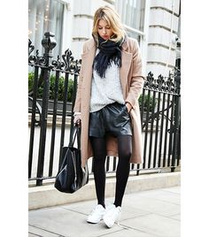 Camille Over The Rainbow. Gray sweater. Camel. Leather. Would like to have seen more opaque tights. Thumbs up overall.