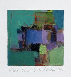 Mar. 6, 2013 - Original Abstract Oil Painting - 9x9 painting (9 x 9 cm - app. 4 x 4 inch) with 8 x 10 inch mat. $60.00, via Etsy.