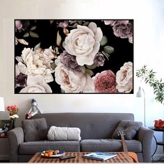 Wall Pictures, Living Room Pictures, Tiny Bedroom Design, Dark Flowers, Floral Wall Art, Art Posters, Picture Wall, Painting Frames, Frames On Wall