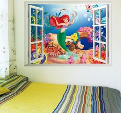 Find More Wall Stickers Information about 3D Window The Little Mermaid Underwater World Cartoon Wall Decal  Wall Stickers for Kids Children Girl Rooms Decor,High Quality stickers ipod,China sticker home Suppliers, Cheap stickers creative from Myhome wall stickers on Aliexpress.com