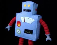 Retro Robot Plushie DIY Felt Doll PDF por GulfCoastCottagePDF