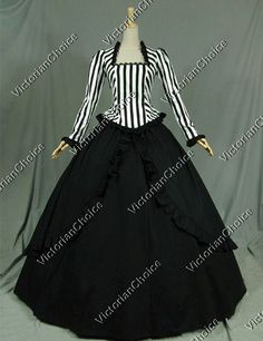 High Quality 2PC Civil War Victorian Steampunk Black White Stripes Ball Gown Dress Costume