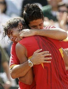 Fernando Verdasco and Rafael Nadal Fernando Verdasco, Tie Break, Rafa Nadal, Spanish Armada, Tennis World, Raging Bull, Play Tennis, Yesterday And Today, Serena Williams