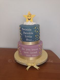 Twinkle twinkle little star - baby shower cake (unisex) Baby Shower Cakes Neutral, Baby Shower Gender Reveal, Baby Shower Themes, Baby Shower Decorations, Shower Ideas, Cake Decorations, Baby Shower Desserts, Baby Shower Brunch, Star Baby Showers