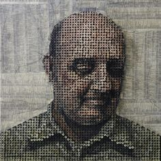 Andrew Myers uses common screws - up to 10,000 of them at a time, to creates these wonderful three-dimensional portraits.