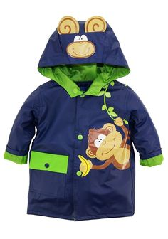 Baby Boys Rainwear Cute Monkey Adventure Raincoat Jacket. Hooded raincoat with snap closure, One flip pocket will keep his essential items dry. Waterproof, Its fun and playful look is sure to brighten up even the dreariest day. Wipe clean with damp cloth, hang to dry. Features Shell: 100% Vinyl Lining: 100% Polyester Snap closure Wipe clean Long Sleeve Cute monkey with vine theme. Hooded rain jacket Waterproof. Fully Lined. Flap front pocket. Wipe clean with damp cloth. Hang to dry.