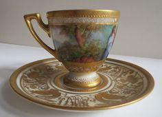 Antique Painted Dresden / Saxony Porcelain Cups and Saucers.