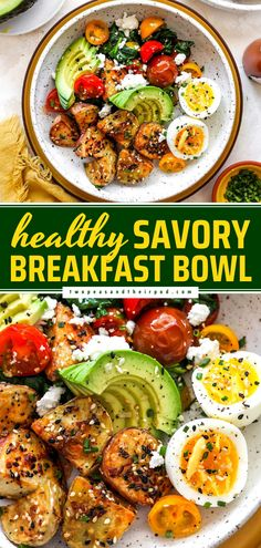 Start your day with a healthy breakfast idea you can customize! Filled with potatoes, eggs, veggies, and avocado, this Savory Breakfast Bowl is hearty and filling. Enjoy it as a Mother's Day idea, too!