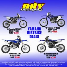 Stop by #DHYMotorsports & check out all of the great deals on select #Yamaha #Dirtbikes See store for details #dhynj