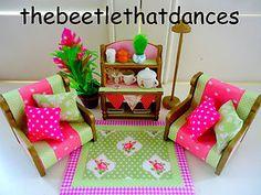 sylvanian families decorated vintage cath kidston living room set fab extras ebay. beautiful ideas. Home Design Ideas