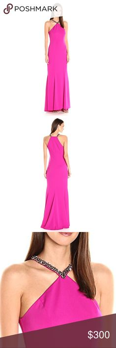 carmen marc valvo // fuschia evening gown NWT fuschia floor-length Carmen Marc Valvo evening gown with beaded neck detail. Purchased full price at Bloomingdales for a military ball and didn't end up wearing it- my loss is your gain!! Carmen Marc Valvo Dresses Prom