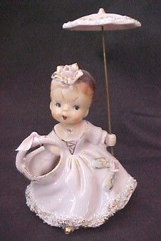 Vintage 1950s UCAGCO Planter Teen Girl with Parasol SPAGHETTI TRIM Dress CUTE! | #404008587
