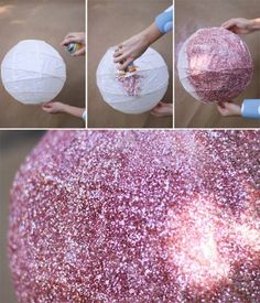 Great idea: apply glitter to a paper lamp shade. Just need a paper shade, spray adhesive, glitter, and 2-3 coats of fixative spray.