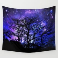 Black Trees Blue Violet Purple Space Wall Tapestry