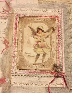 altered textile art mixed media card, vintage Christmas image, MOP, vintage pink mercury glass beads, circa 1910 music, French and journal paper…..Needletraditions design...