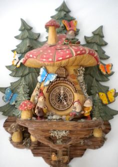 Black Forest Trolls and Butterflys Cuckoo Clock All Hand Carved by Master Carver Coo Coo Clock, Black Forest Germany, Cuckoo Clocks, Cool Clocks, Hobgoblin, Bradford Exchange, Grandfather Clock, Paperclay, Shadow Box