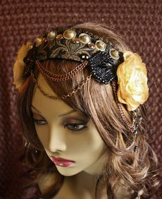 Tribal Fusion Headpiece- Buttercup- Antique Jet Beads, Copper, Olive and Gold Floral Headdress. 70,00, via Etsy.
