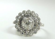 Antique Diamond Engagement Ring Platinum Ring Size 6.25 EGL USA Art Deco Vintage #Engagement