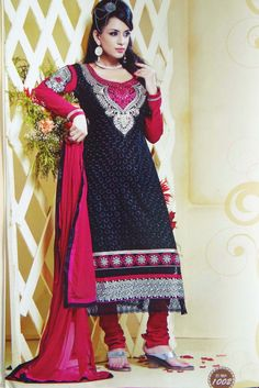 Look gorgeous in this beautiful black color #salwarkameez suit with fabulous threadwork #embroidery that will make you stand out