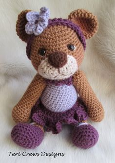 New Darling Bear Crochet Pattern by Teri Crews Wool and Whims Instant PDF Download