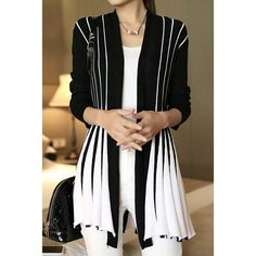 Stylish Long Sleeve Color Block Cardigan For Women