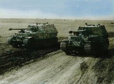"Two Porsche Tiger (P) ""Elephant"" tanks during the build up for the Kursk offensive"