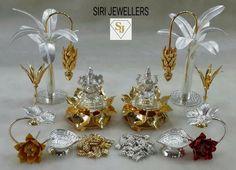 Diwali Decorations, Festival Decorations, Gold Jewellery Design, Silver Jewelry, Silver Pooja Items, Ganapati Decoration, Pooja Room Design, Silver Lamp, Puja Room