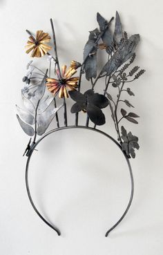 "Tiara | Jan Yager. ""Invasive Species"" Oxidized sterling silver and gold"