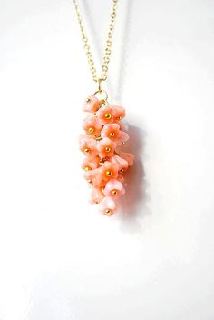 Coral Delicate Long Necklace - Charming, playful, funny rich charm necklace - lovely buds in coral $36.04