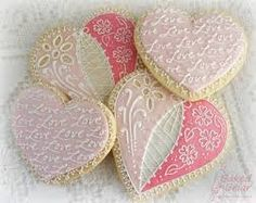 """Pink lace, """"Love"""", Valentines, heart cookies - """"X"""" the pic, for even more gorgeous decorated cookie ideas! Valentines Day Food, Valentine Cookies, Cookie Decorating Supplies, Cake Decorating, Mini Cookie Cutters, Icing Techniques, Cookie Designs, Cookie Ideas, Heart Cookies"""
