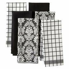 Egyptian Cotton Kitchen Towel Set of 6 - Black/White