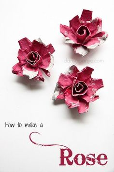 How to make egg carton roses - fun flower-themed kids craft idea for Spring or Mother's Day.