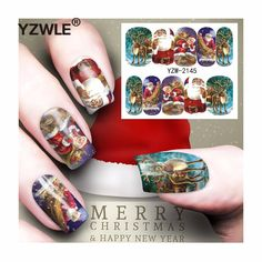 [Visit to Buy] YZWLE 1 Sheet Christmas Design DIY Decals Nails Art Water Transfer Printing Stickers Accessories For Manicure Salon (YZW-2145) #Advertisement