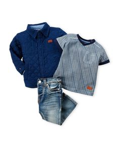 7 For All Mankind (Infant Boys) 3-Piece Quilted Jacket & Skinny Jeans Set
